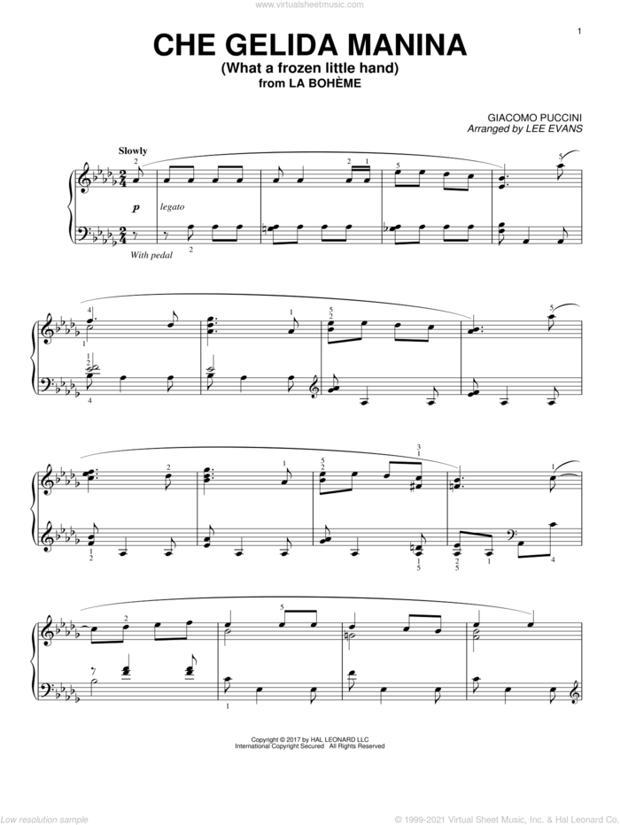 Che gelida manina from La Boheme (arr. Lee Evans) sheet music for piano solo by Giacomo Puccini and Lee Evans, classical score, intermediate skill level