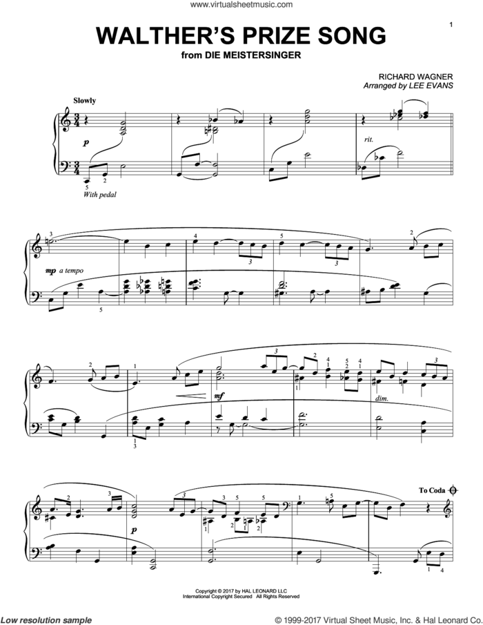Walther's Prize Song (arr. Lee Evans) sheet music for piano solo by Richard Wagner and Lee Evans, classical score, intermediate skill level