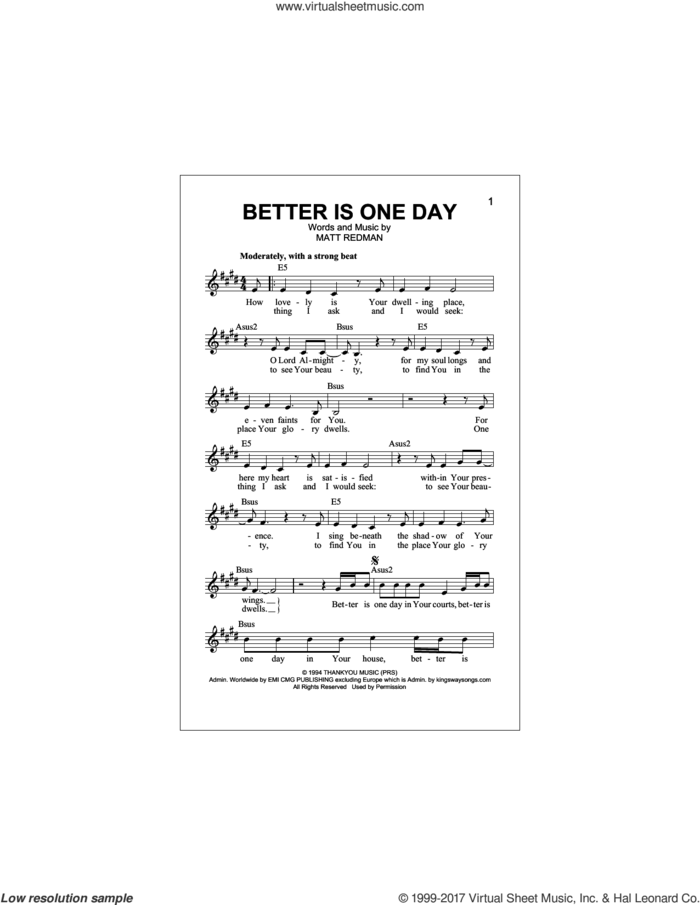 Better Is One Day sheet music for voice and other instruments (fake book) by Matt Redman and Passion, intermediate skill level