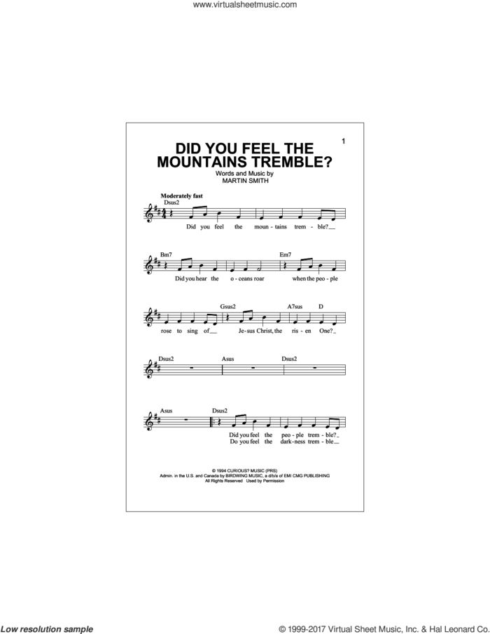 Did You Feel The Mountains Tremble? sheet music for voice and other instruments (fake book) by Passion, Delirious? and Martin Smith, intermediate skill level