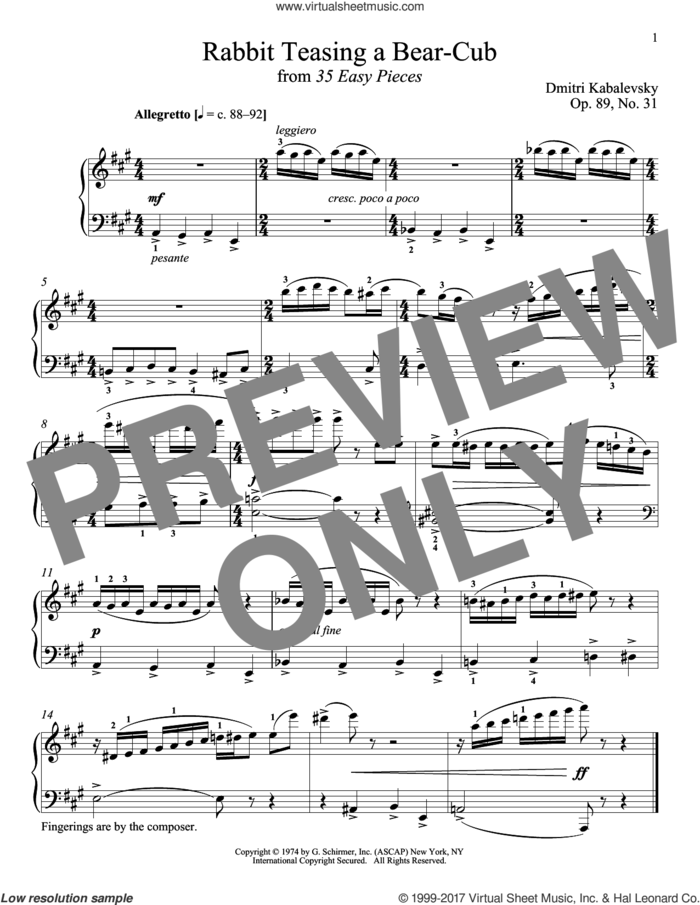 Rabbit Teasing A Bear-Cub, Op. 89, No. 31 sheet music for piano solo by Dmitri Kabalevsky and Richard Walters, classical score, intermediate skill level