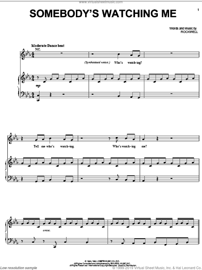 Somebody's Watching Me sheet music for voice, piano or guitar by Rockwell, intermediate skill level