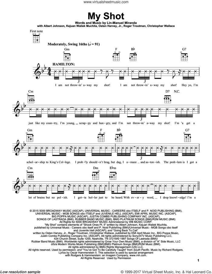 My Shot (from Hamilton) sheet music for ukulele by Lin-Manuel Miranda, Albert Johnson, Christopher Wallace, Kejuan Waliek Muchita, Osten Harvey, Jr. and Roger Troutman, intermediate skill level