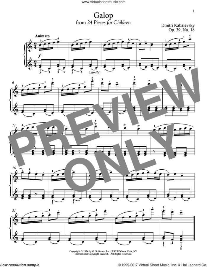 Galop sheet music for piano solo by Dmitri Kabalevsky, classical score, intermediate skill level