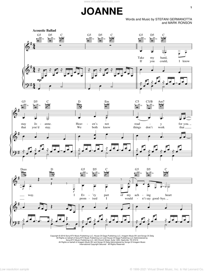 Joanne sheet music for voice, piano or guitar by Lady Gaga and Mark Ronson, intermediate skill level