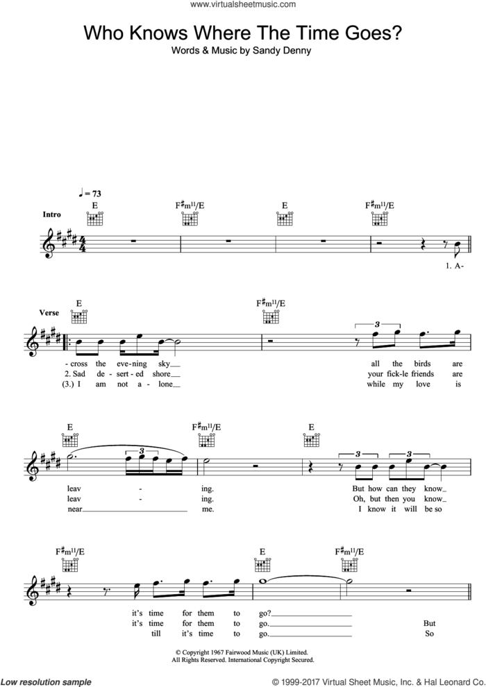 Who Knows Where The Time Goes? sheet music for voice and other instruments (fake book) by Fairport Convention, intermediate skill level