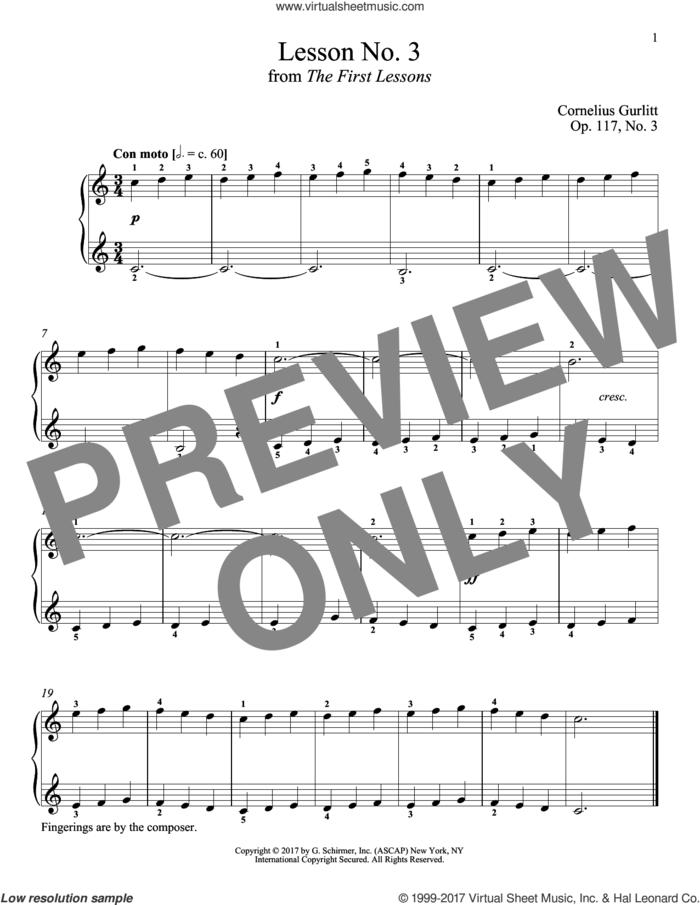 Con moto, Op. 117, No. 3 sheet music for piano solo by Cornelius Gurlitt and Richard Walters, intermediate skill level