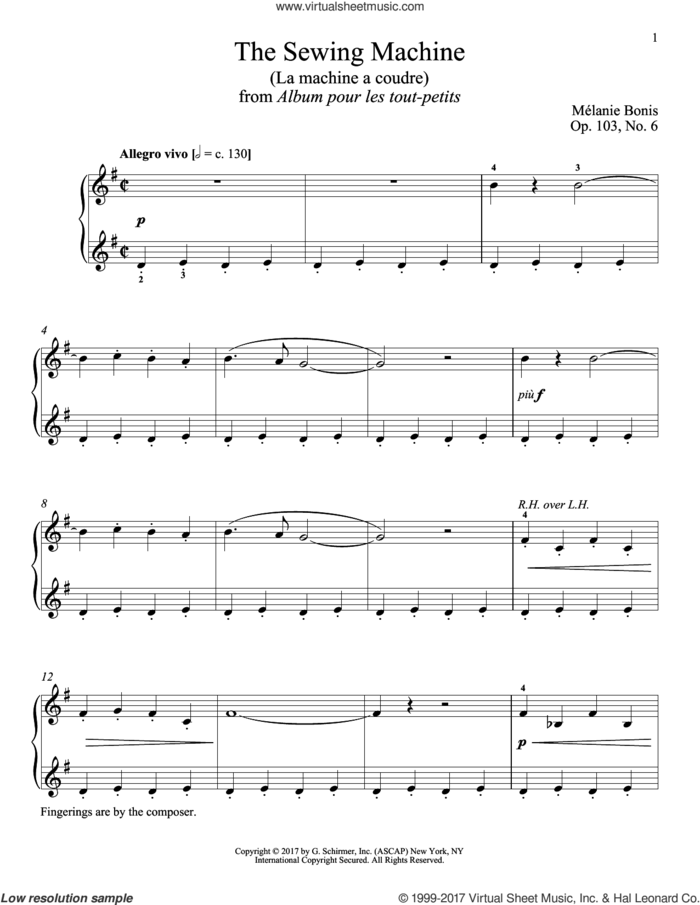 The Sewing Machine (La machine a courde) sheet music for piano solo by Melanie Bonis and Richard Walters, classical score, intermediate skill level
