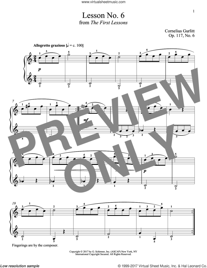 Allegretto grazioso, Op. 117, No. 6 sheet music for piano solo by Cornelius Gurlitt and Richard Walters, classical score, intermediate skill level