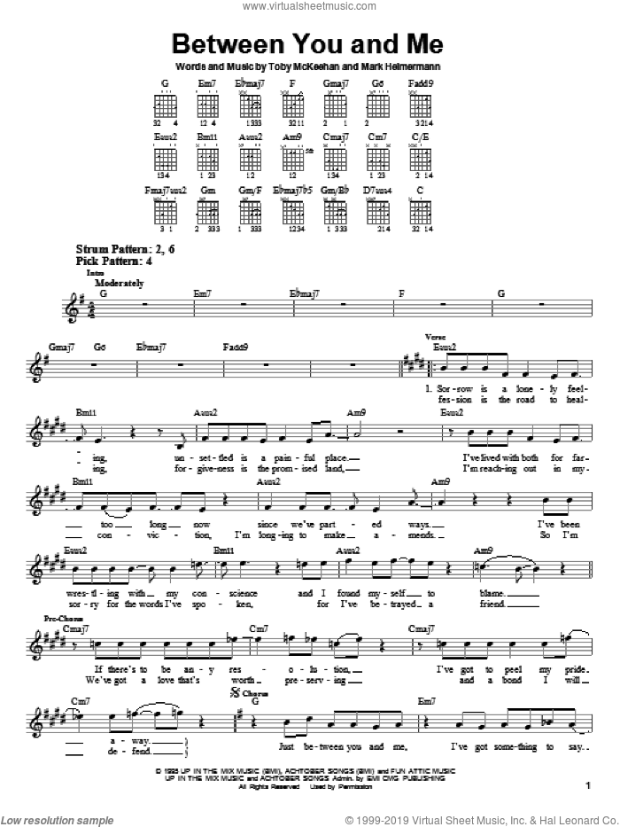 Between You And Me sheet music for guitar solo (chords) by dc Talk, Mark Heimermann and Toby McKeehan, easy guitar (chords)