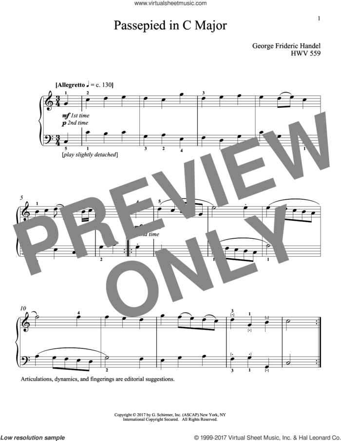 Passepied In C Major, HWV 559 sheet music for piano solo by George Frideric Handel and Richard Walters, classical score, intermediate skill level