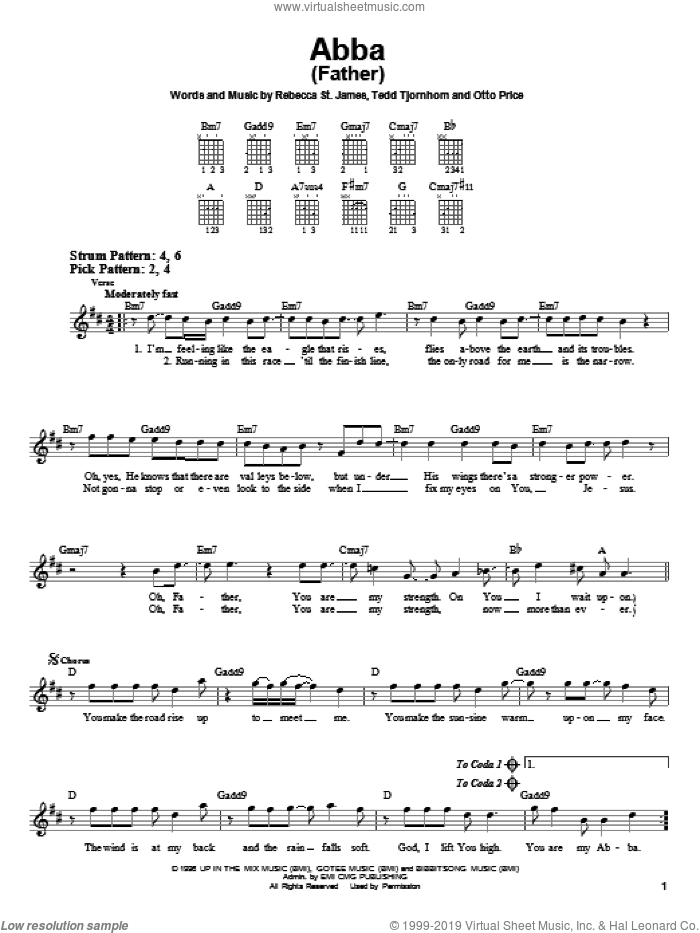 Abba (Father) sheet music for guitar solo (chords) by Rebecca St. James, Otto Price and Tedd Tjornhom, easy guitar (chords)