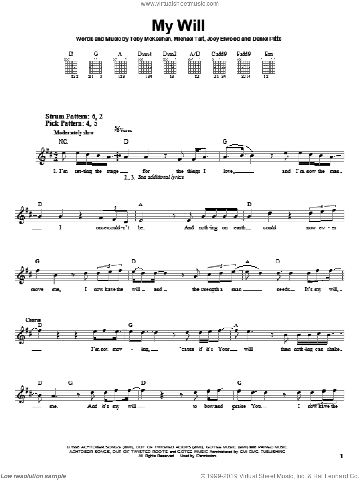 My Will sheet music for guitar solo (chords) by dc Talk, Various Composers, Daniel Pitts, Joey Elwood, Michael Tait and Toby McKeehan, easy guitar (chords)
