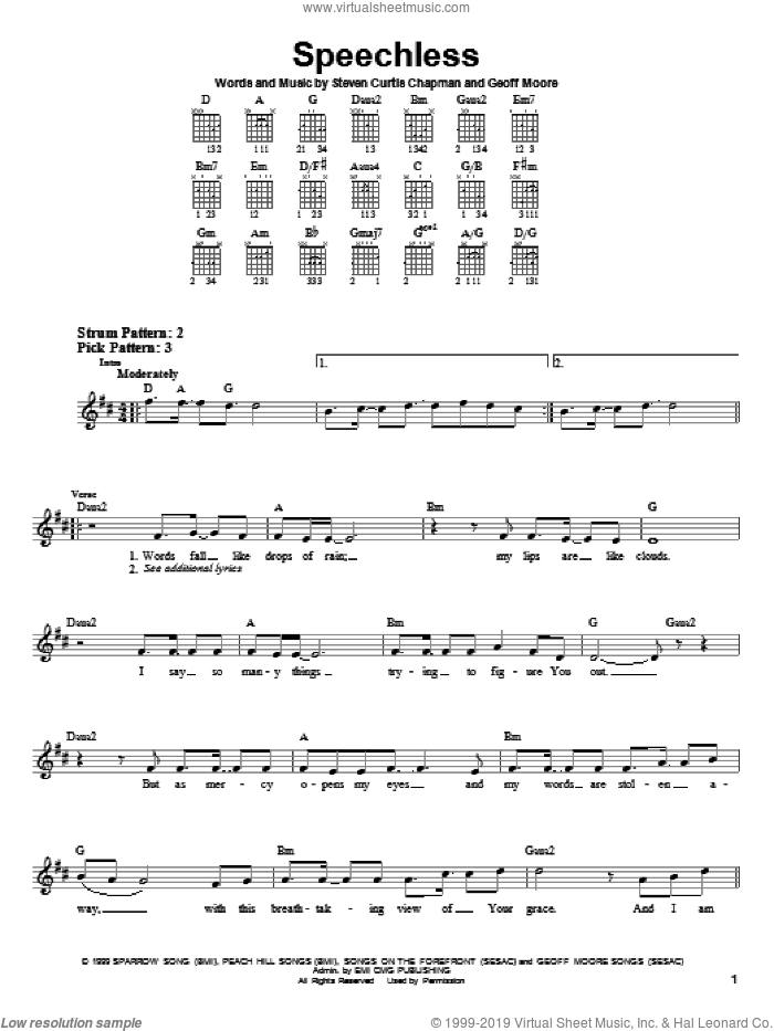 Speechless sheet music for guitar solo (chords) by Steven Curtis Chapman and Geoff Moore, easy guitar (chords)