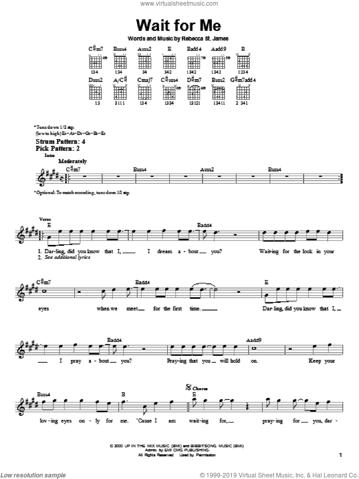 Wait For Me sheet music for guitar solo (chords) by Rebecca St. James, easy guitar (chords)