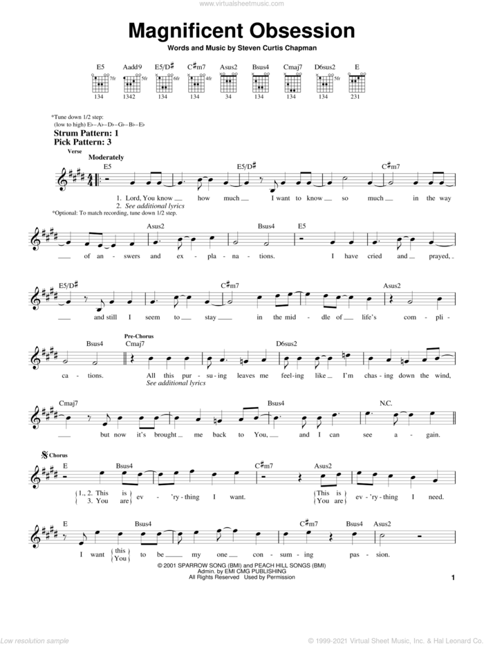 Magnificent Obsession sheet music for guitar solo (chords) by Steven Curtis Chapman, easy guitar (chords)