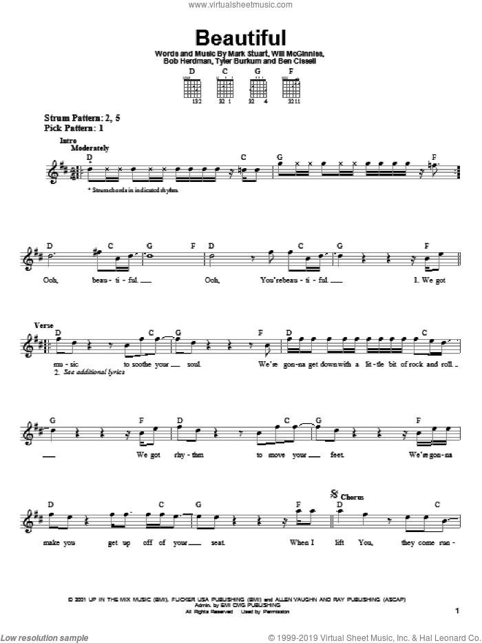 Beautiful sheet music for guitar solo (chords) by Audio Adrenaline, Ben Cissell, Bob Herdman, Mark Stuart, Tyler Burkum and Will McGinniss, easy guitar (chords)