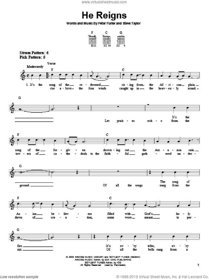 He Reigns sheet music for guitar solo (chords) by Newsboys, Peter Furler and Steve Taylor, easy guitar (chords)