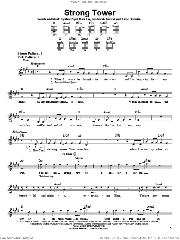 Strong Tower sheet music for guitar solo (chords) by Kutless, Aaron Sprinkle, Jon Micah Sumrall, Marc Byrd and Mark Lee, easy guitar (chords)
