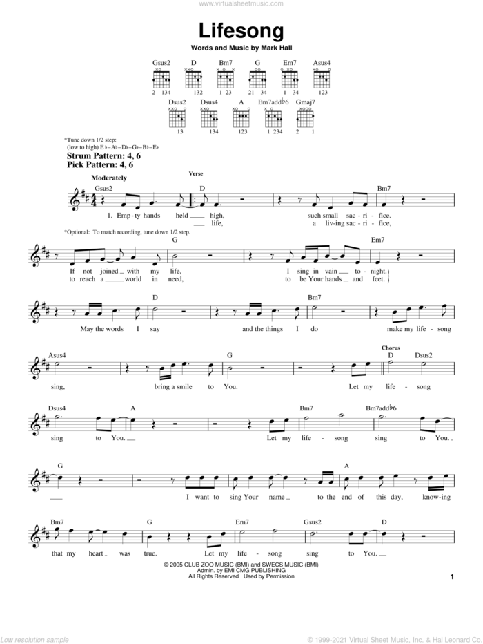 Lifesong sheet music for guitar solo (chords) by Casting Crowns and Mark Hall, easy guitar (chords)