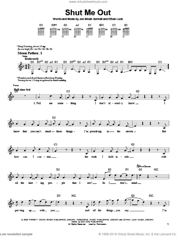 Shut Me Out sheet music for guitar solo (chords) by Kutless, Ethan Luck and Jon Micah Sumrall, easy guitar (chords)