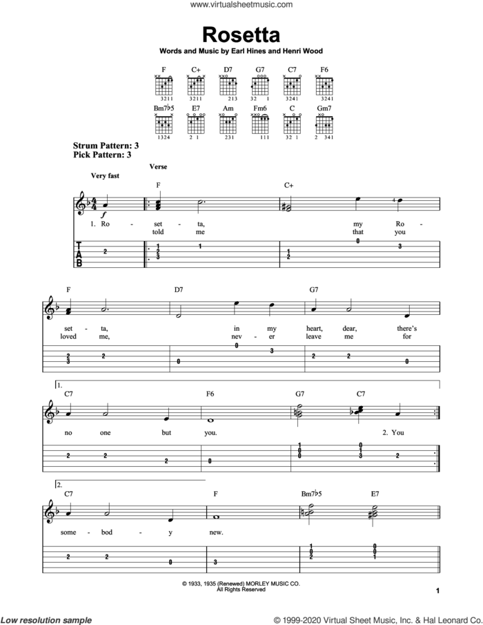 Rosetta sheet music for guitar solo (easy tablature) by Henri Wood and Earl Hines, easy guitar (easy tablature)