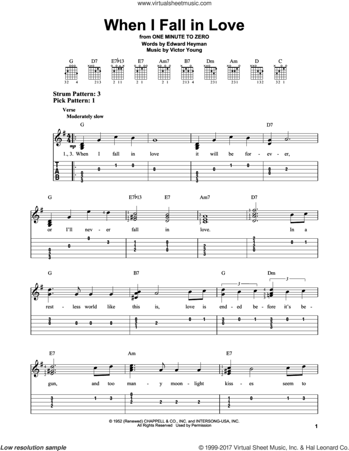 When I Fall In Love sheet music for guitar solo (easy tablature) by The Lettermen, Carpenters, Edward Heyman and Victor Young, easy guitar (easy tablature)