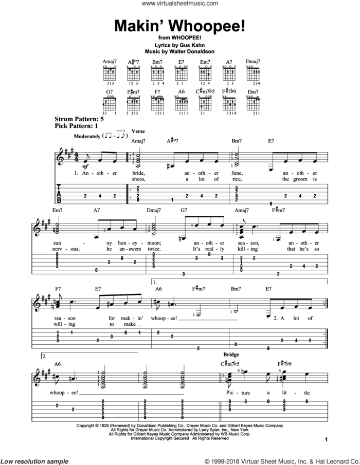 Makin' Whoopee! sheet music for guitar solo (easy tablature) by John Hicks, Gus Kahn and Walter Donaldson, easy guitar (easy tablature)