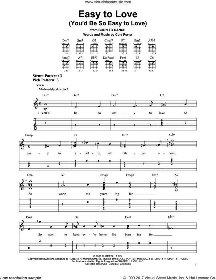 Easy To Love (You'd Be So Easy To Love) sheet music for guitar solo (easy tablature) by Cole Porter, easy guitar (easy tablature)