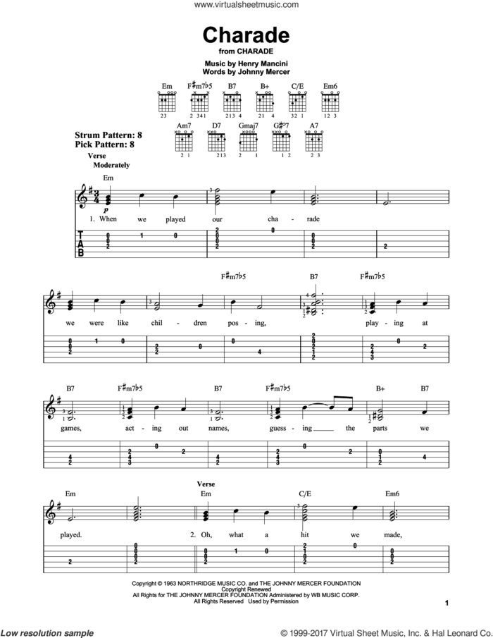Charade sheet music for guitar solo (easy tablature) by Johnny Mercer, Andy Williams, Sammy Kaye and Henry Mancini, easy guitar (easy tablature)
