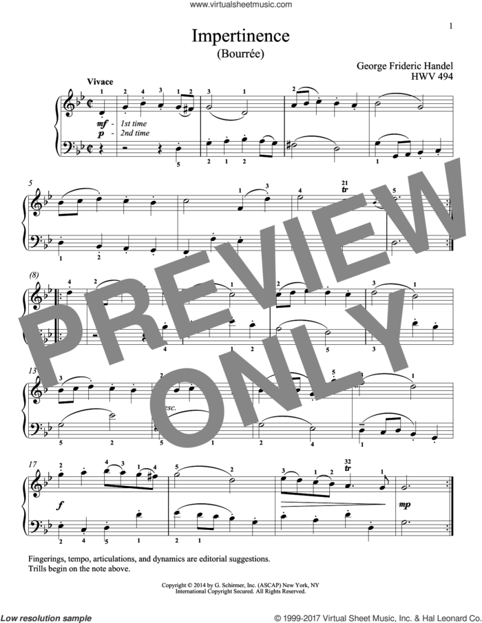 Impertinence, HWV 494 sheet music for piano solo by George Frideric Handel, classical score, intermediate skill level
