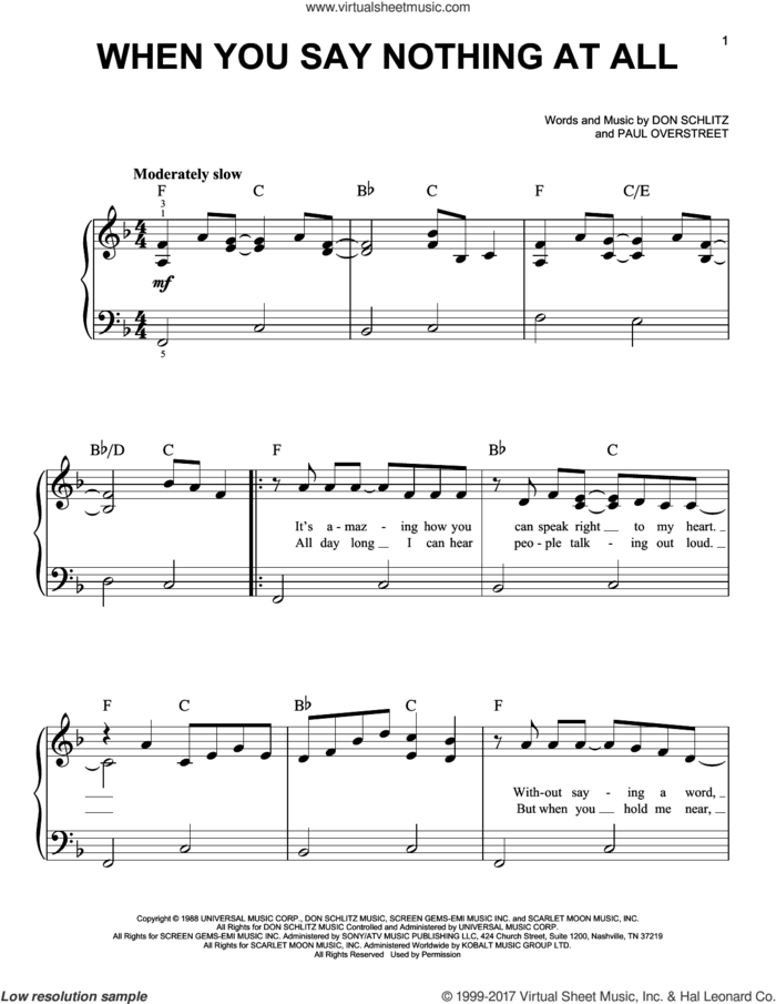 When You Say Nothing At All sheet music for piano solo by Alison Krauss & Union Station, Keith Whitley, Don Schlitz and Paul Overstreet, easy skill level