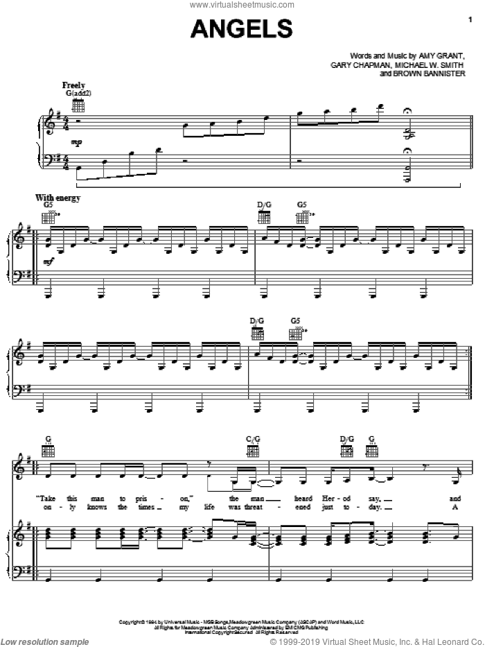 Angels sheet music for voice, piano or guitar by Amy Grant, Brown Bannister, Gary Chapman and Michael W. Smith, intermediate skill level