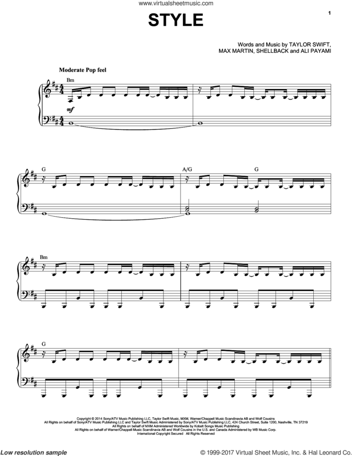 Style sheet music for voice and piano by Taylor Swift, Ali Payami, Johan Schuster, Max Martin and Shellback, intermediate skill level