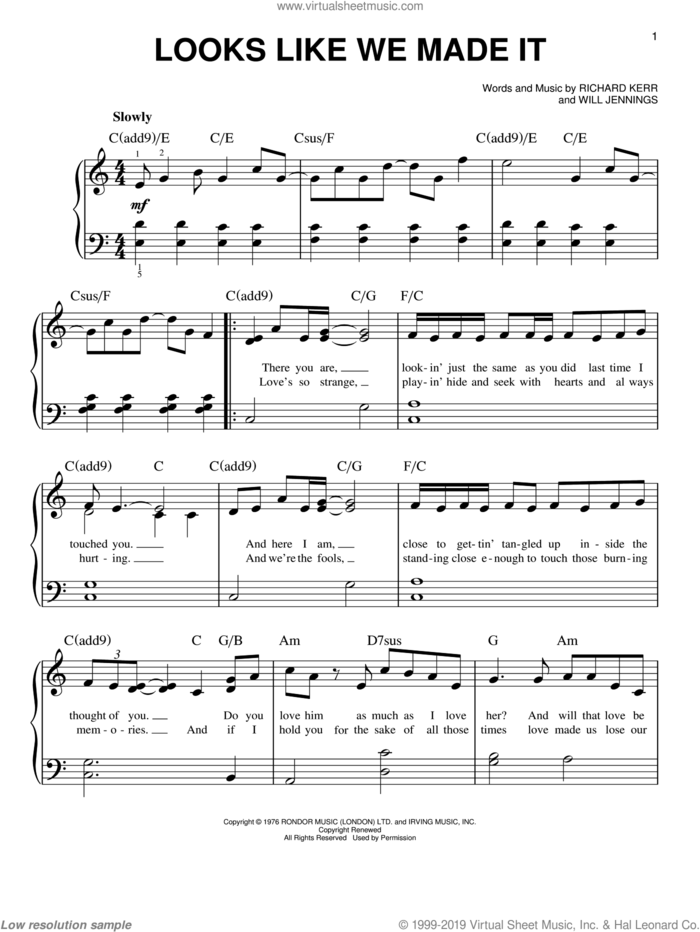 Looks Like We Made It sheet music for piano solo by Barry Manilow, Richard Kerr and Will Jennings, easy skill level