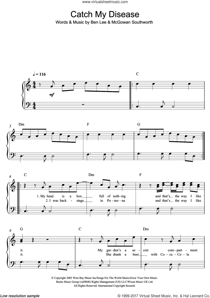 Catch My Disease sheet music for piano solo by Ben Lee, easy skill level