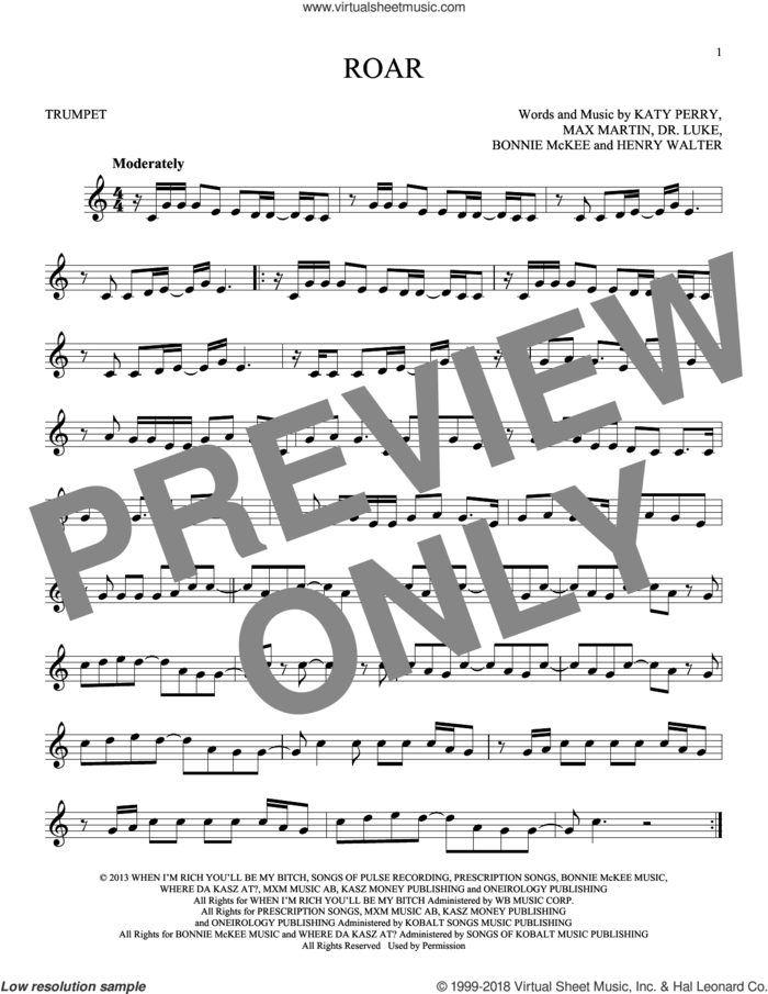 Roar sheet music for trumpet solo by Katy Perry, Bonnie McKee, Henry Walter, Lukasz Gottwald and Max Martin, intermediate skill level