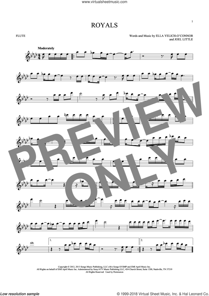 Royals sheet music for flute solo by Lorde and Joel Little, intermediate skill level