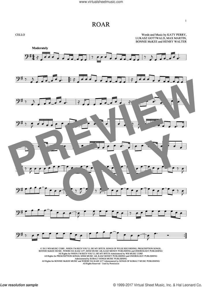 Roar sheet music for cello solo by Katy Perry, Bonnie McKee, Henry Walter, Lukasz Gottwald and Max Martin, intermediate skill level