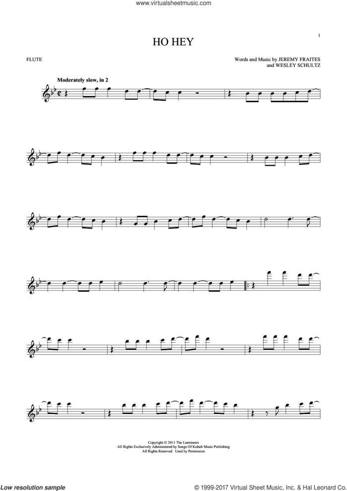 Ho Hey sheet music for flute solo by The Lumineers, Lennon & Maisy, Jeremy Fraites and Wesley Schultz, intermediate skill level