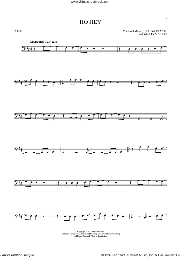 Ho Hey sheet music for cello solo by The Lumineers, Lennon & Maisy, Jeremy Fraites and Wesley Schultz, intermediate skill level