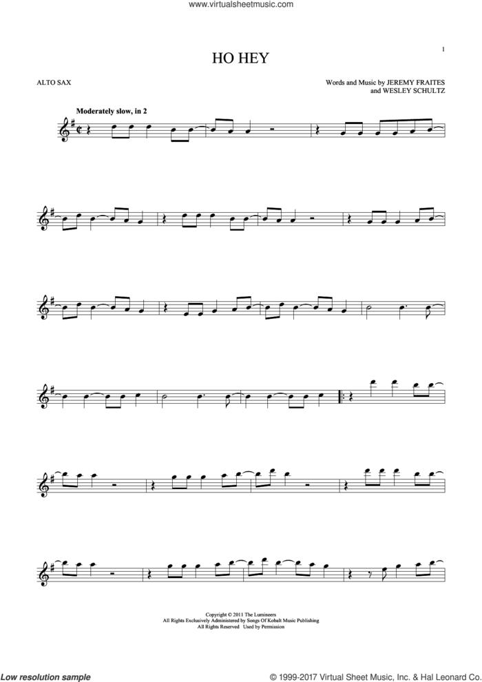Ho Hey sheet music for alto saxophone solo by The Lumineers, Lennon & Maisy, Jeremy Fraites and Wesley Schultz, intermediate skill level