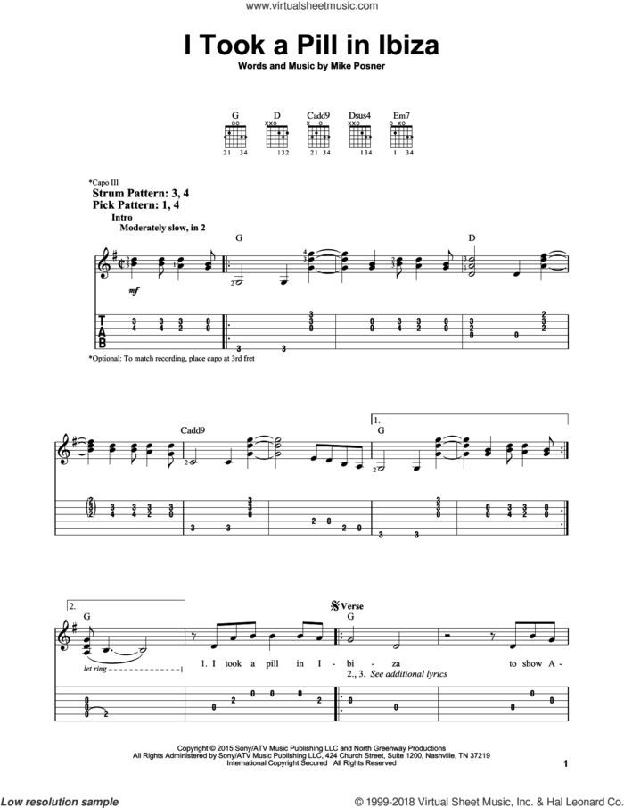 I Took A Pill In Ibiza sheet music for guitar solo (easy tablature) by Mike Posner, easy guitar (easy tablature)