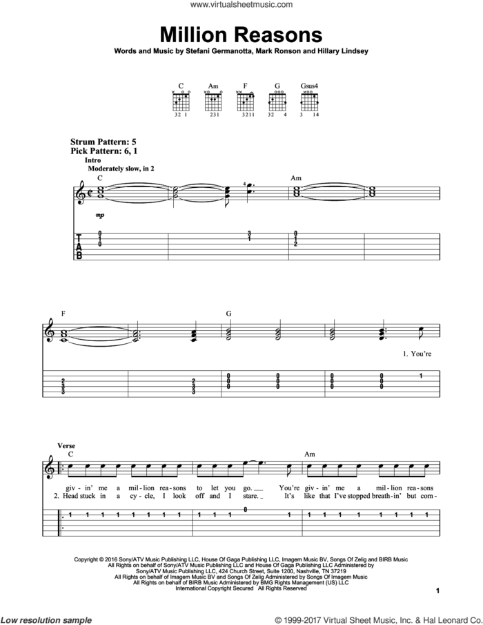 Million Reasons sheet music for guitar solo (easy tablature) by Lady Gaga, Hillary Lindsey and Mark Ronson, easy guitar (easy tablature)
