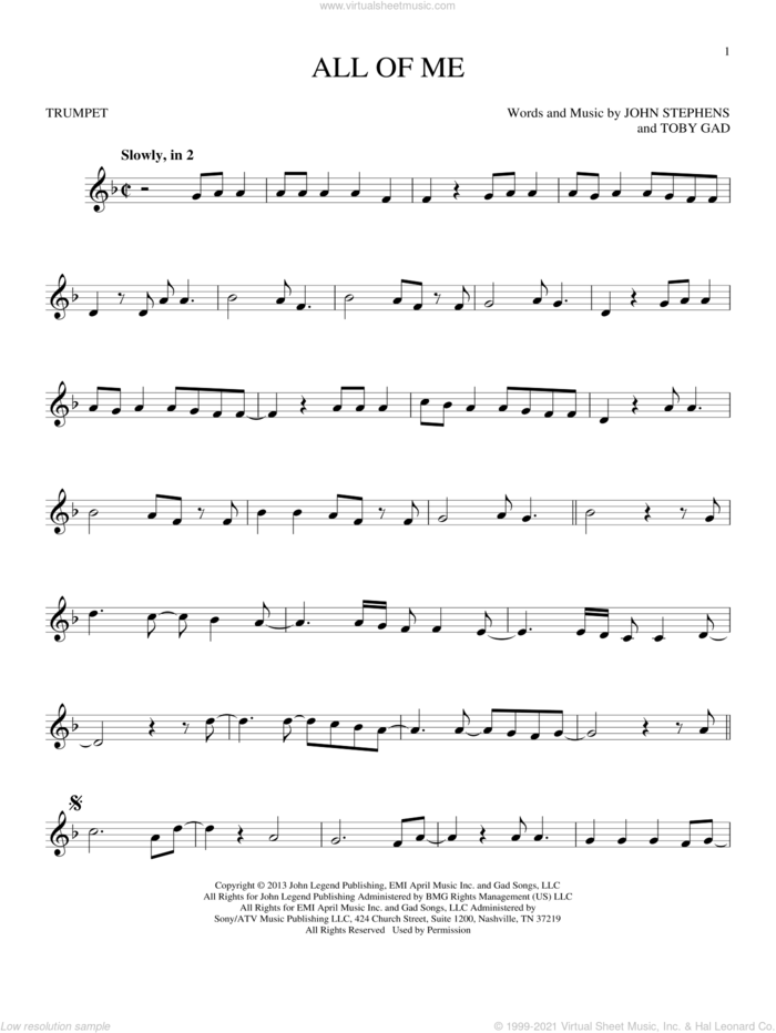 All Of Me sheet music for trumpet solo by John Legend, John Stephens and Toby Gad, wedding score, intermediate skill level