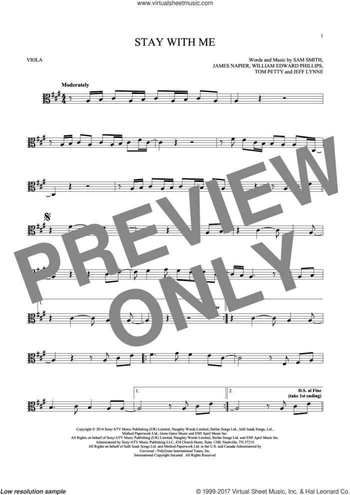 Stay With Me sheet music for viola solo by Sam Smith, James Napier, Jeff Lynne, Tom Petty and William Edward Phillips, intermediate skill level
