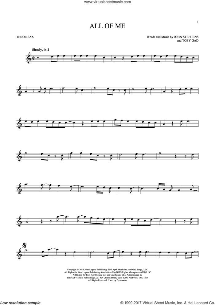 All Of Me sheet music for tenor saxophone solo by John Legend, John Stephens and Toby Gad, wedding score, intermediate skill level