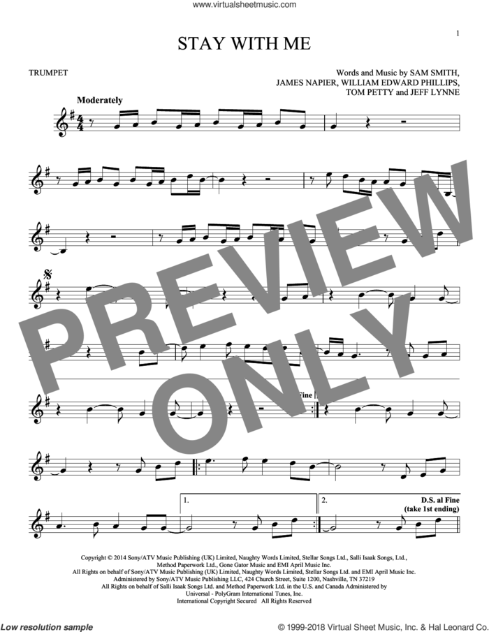 Stay With Me sheet music for trumpet solo by Sam Smith, James Napier, Jeff Lynne, Tom Petty and William Edward Phillips, intermediate skill level