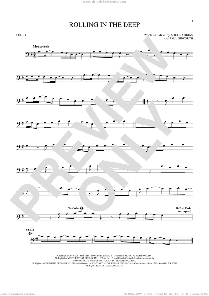 Rolling In The Deep sheet music for cello solo by Adele, Adele Adkins and Paul Epworth, intermediate skill level