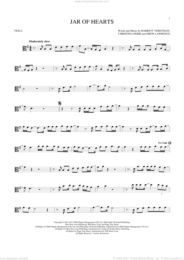 Jar Of Hearts sheet music for viola solo by Christina Perri, Barrett Yeretsian and Drew Lawrence, intermediate skill level
